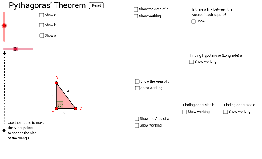 Pythagoras' Theorem with areas included