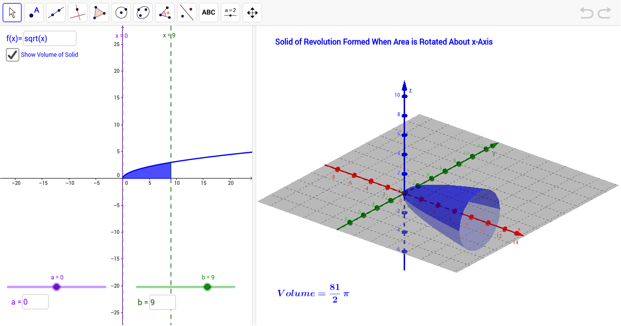 Volume of solid of revolution about x axis geogebra robcynllc Choice Image