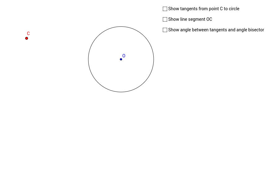 Angle between tangents from external point