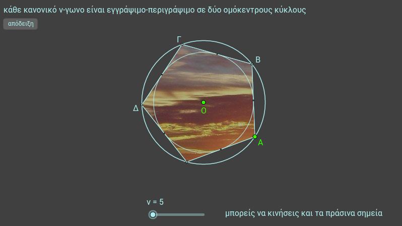 κύκλοι κανονικού ν-γώνου