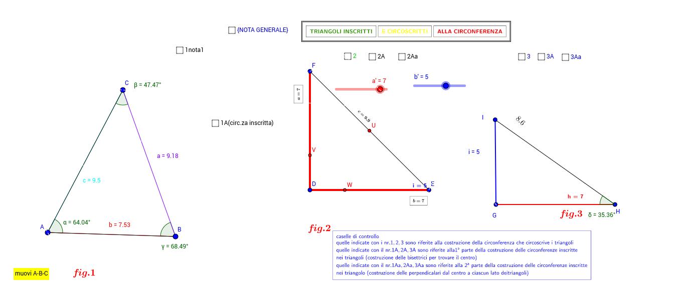 circonferenze inscritte e circoscritte a triangoli