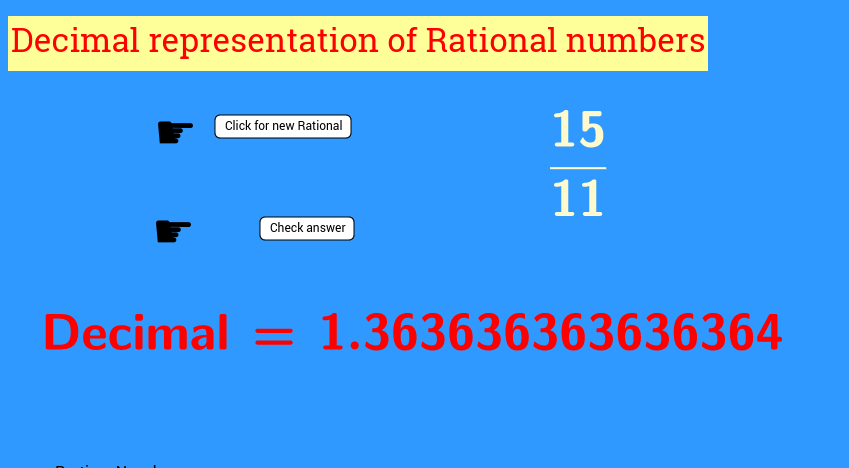 Click on new and find the decimal representation of fraction