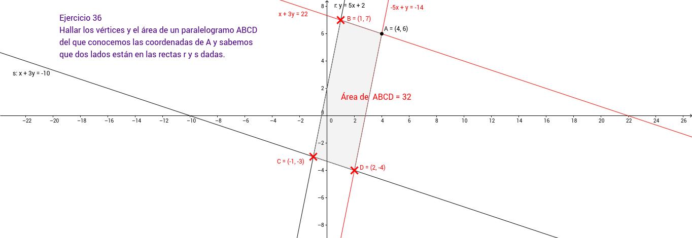 Ejercicio 36. Geometría en el plano