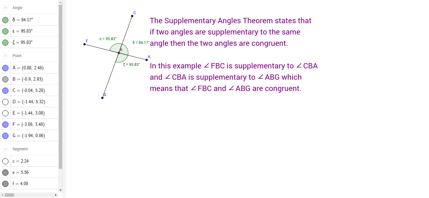 worksheet Supplementary Angles supplementary angles theorem geogebra