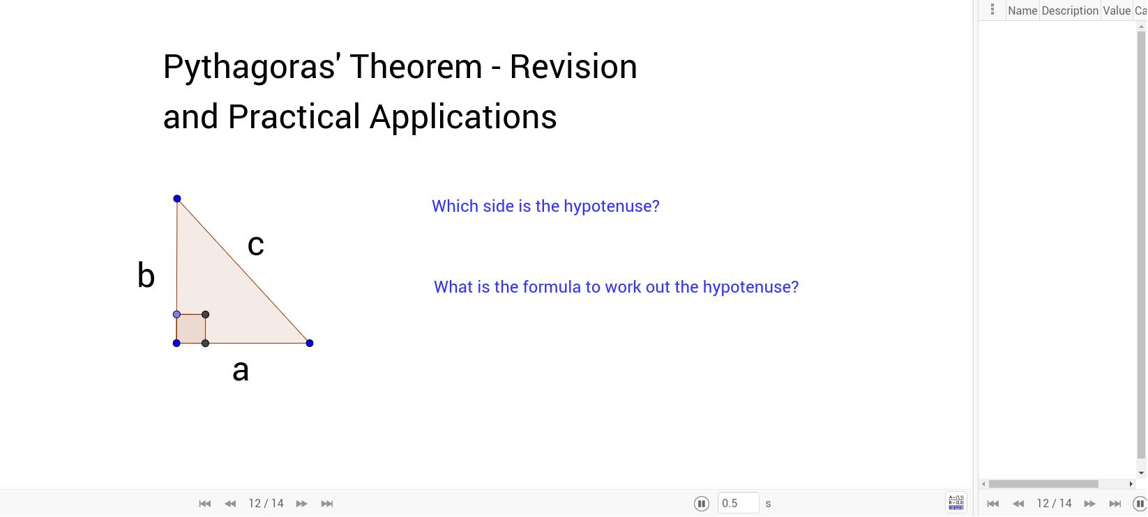 pythagoras theorem revision practical applications geogebra. Black Bedroom Furniture Sets. Home Design Ideas