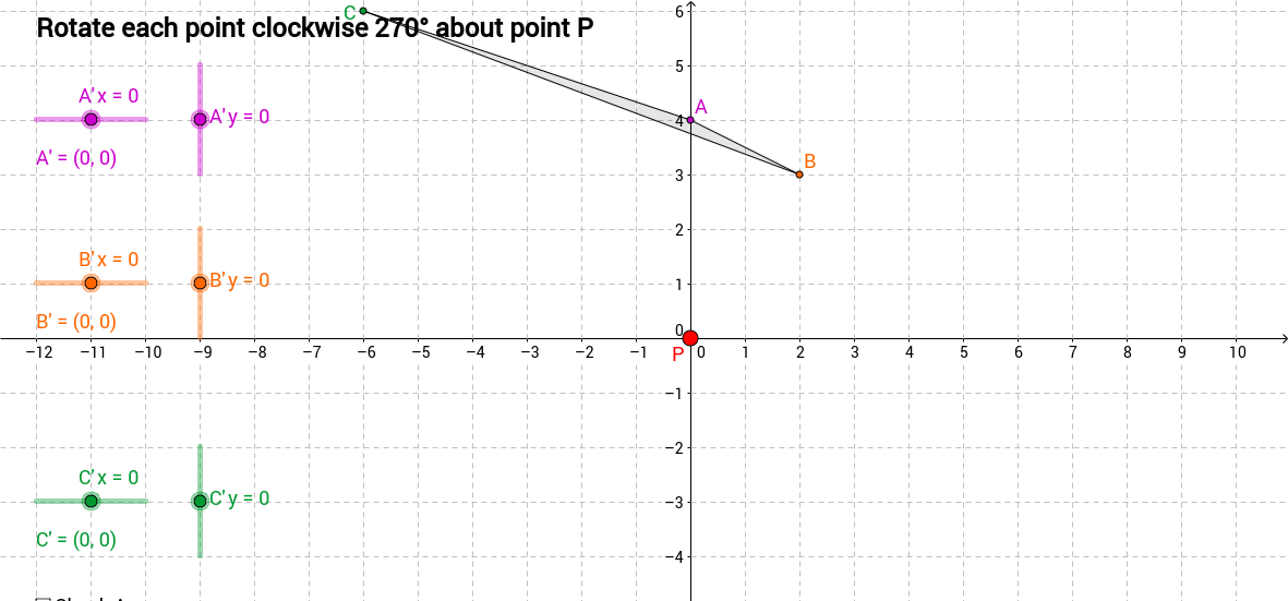 Rotation of points in a triangle quiz