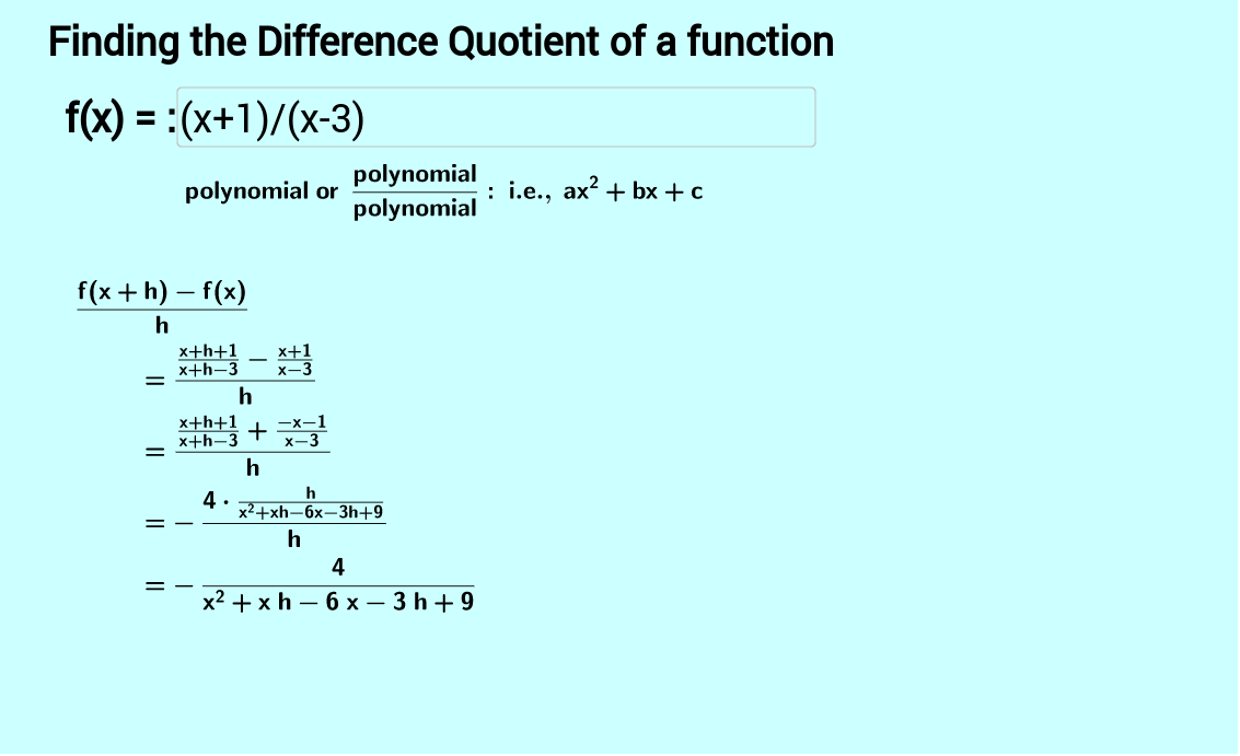 Finding the Difference Quotient of a polynomial function GeoGebra – Difference Quotient Worksheet