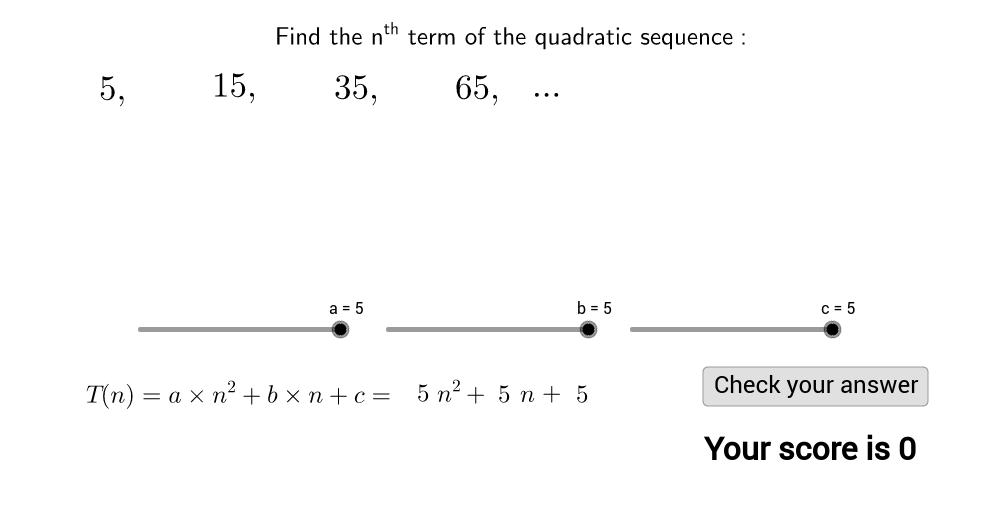 Quadratic sequences game - find the nth term - GeoGebra