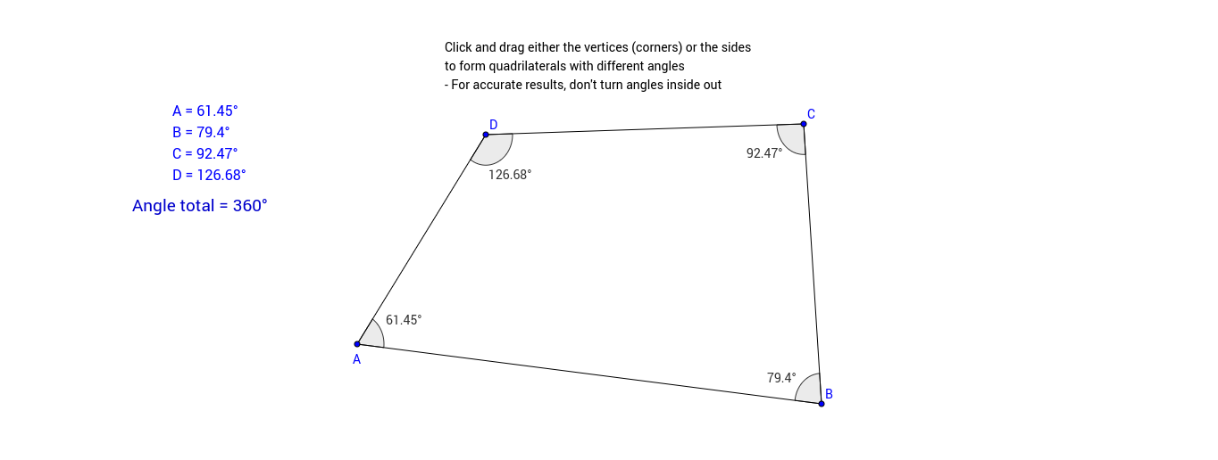Basic adjustable Quadrilateral with Angle Total