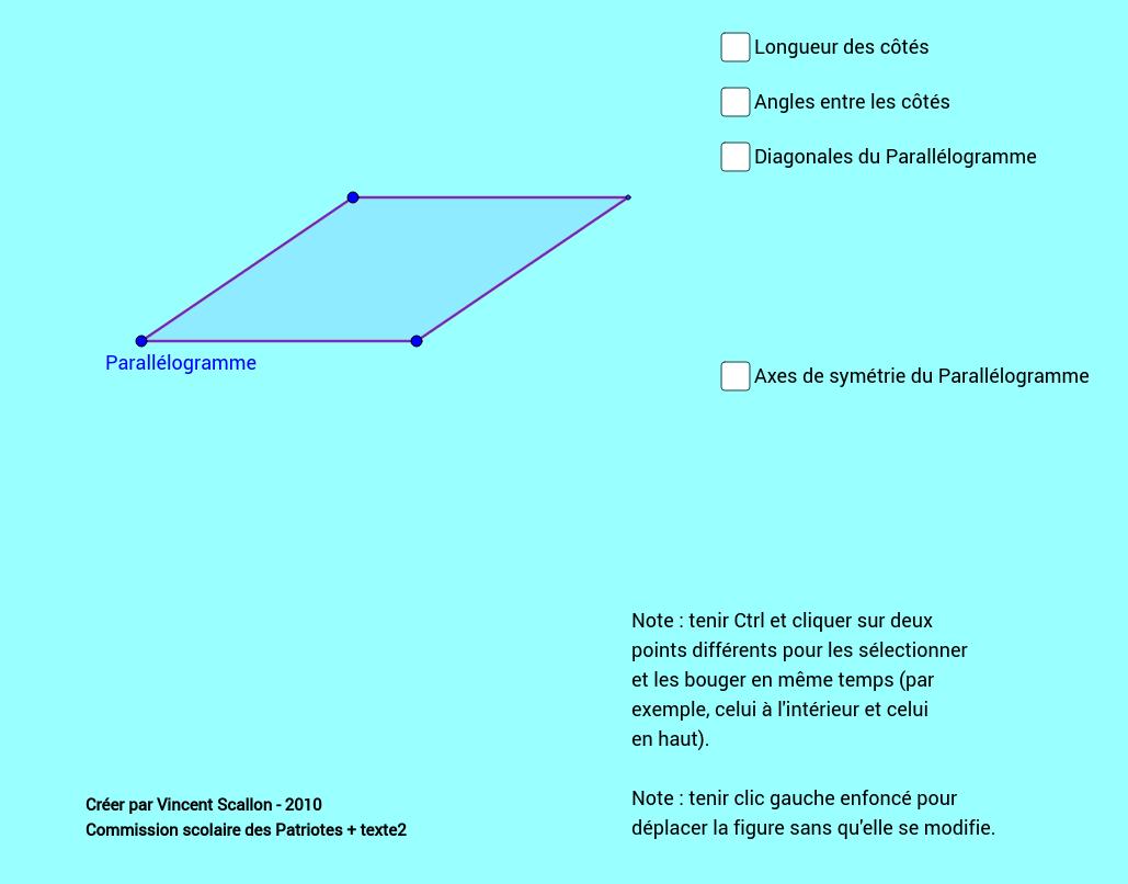 Propriétés parallélogramme