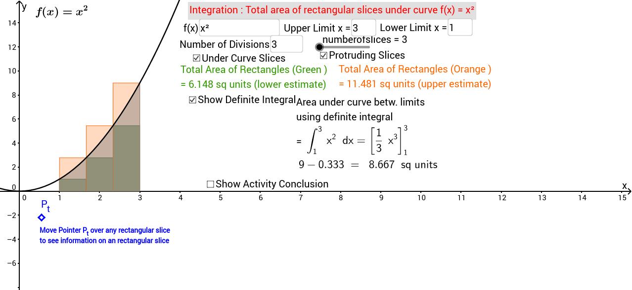 Area Definite Integral & Estimates using Rectangular Slices