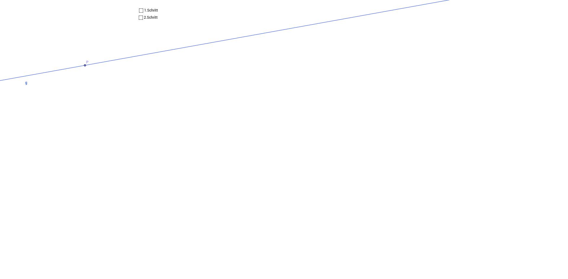 Senkrechte auf eine Gerade durch einen Punkt konstruieren II