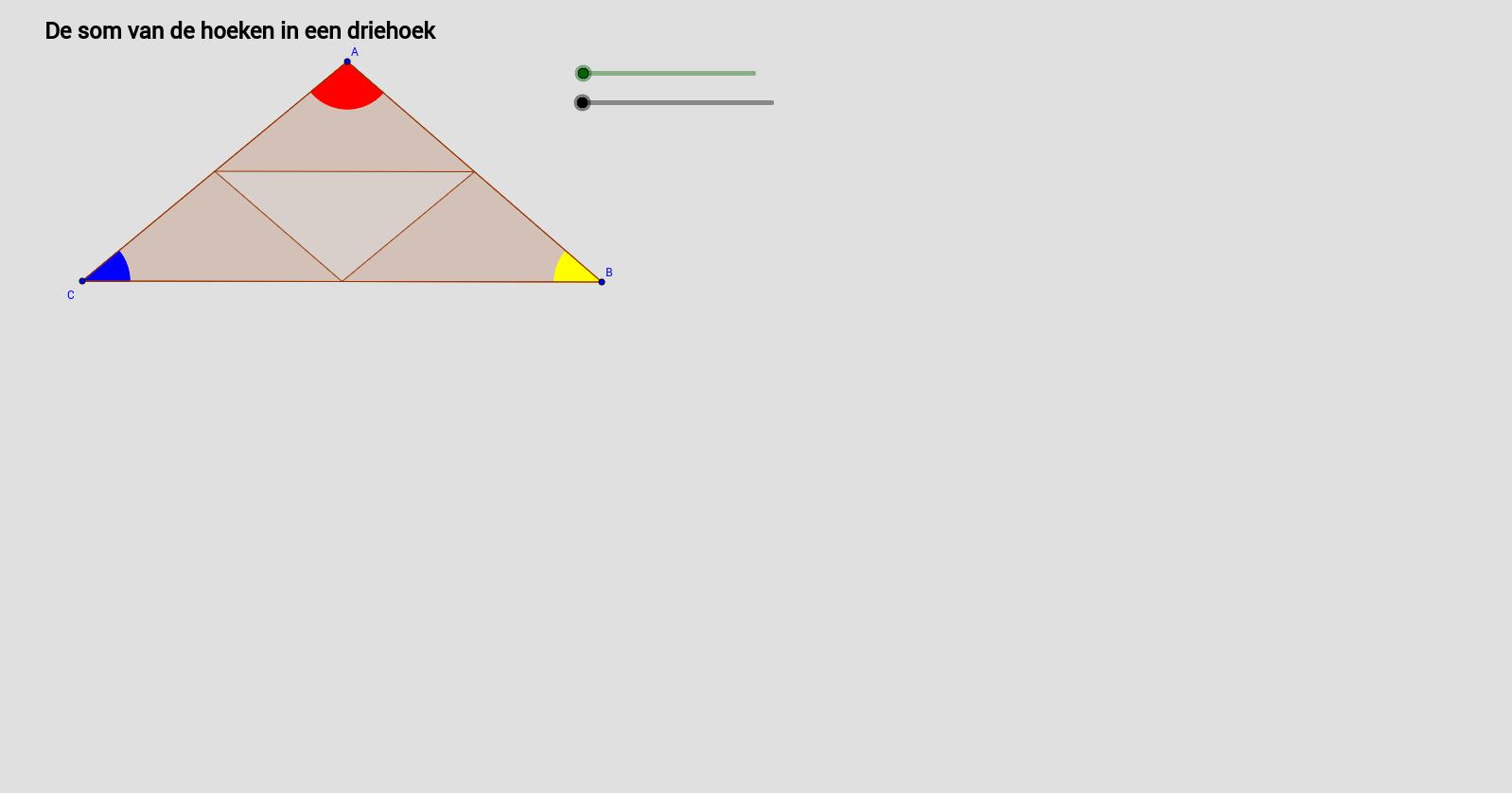 De som van de hoeken in een driehoek