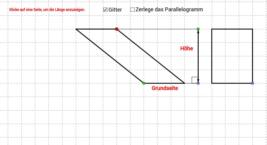 Fläche von Paralellogramm mit Hilfe von Rechteck bestimmen