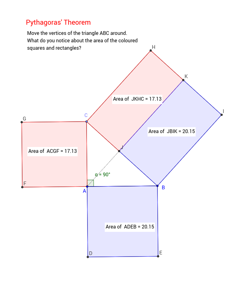 Euclid's proof of Pythagoras Theorem (proposition 47)