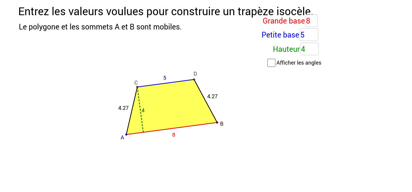Construire un trapèze isocèle
