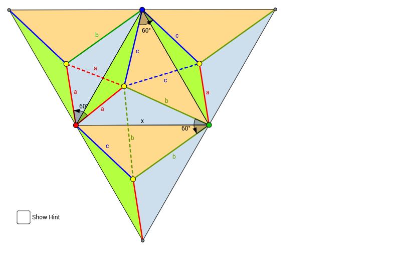 正三角形內一點到三頂點的距離