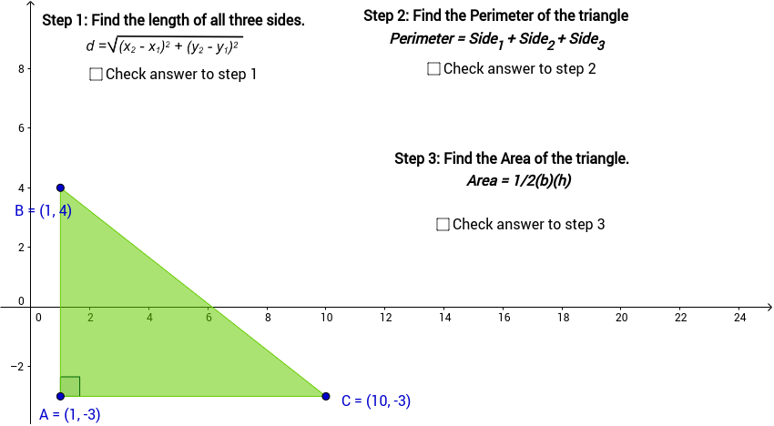 Area and perimeter of right triangles on the coordinate grid directions find the area and perimeter of right triangle abc on the coordinate grid below step 1 find the length of each side ccuart Images