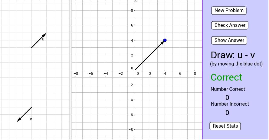 Vector Addition and Subtraction Practice - GeoGebra