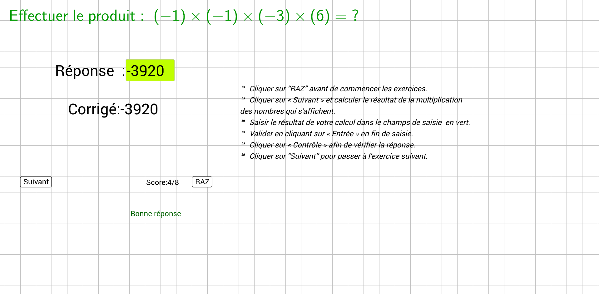 Exercices-Multiplication entiers relatifs