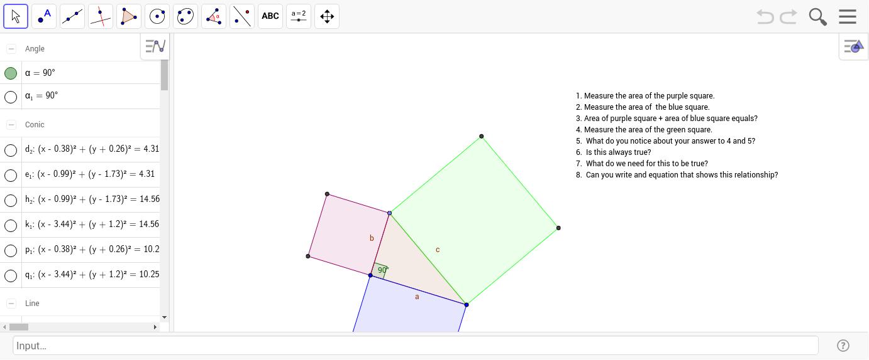 pythagorean theorem worksheet geogebra. Black Bedroom Furniture Sets. Home Design Ideas