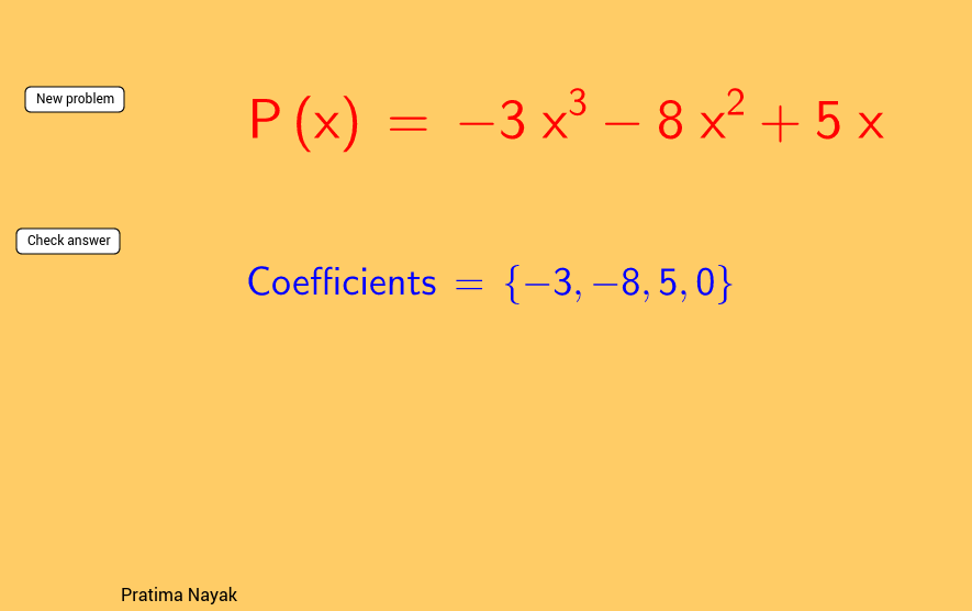 Coefficients of a polynomial