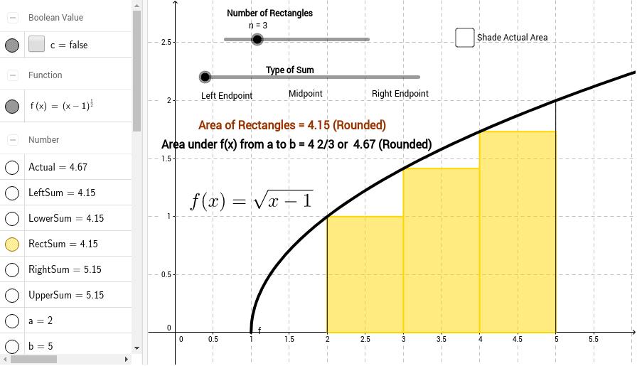 Left Right and Midpoint Sum GeoGebra – Riemann Sum Worksheet