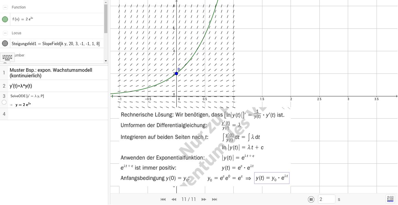 Bsp. zu 497 Kontinuierliches exponentielles Wachstum / tm 8.KL S126-127