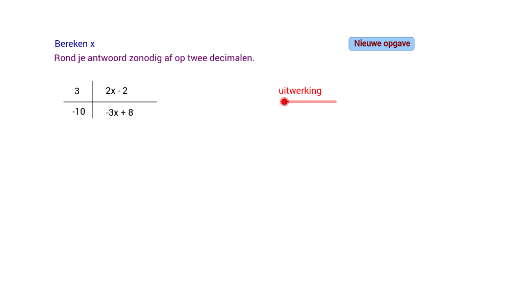 Verhoudingstabel. Een onbekende variabele