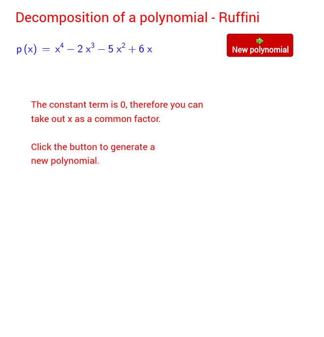 Ruffini - Decomposition of a polynomial (synthetic division)