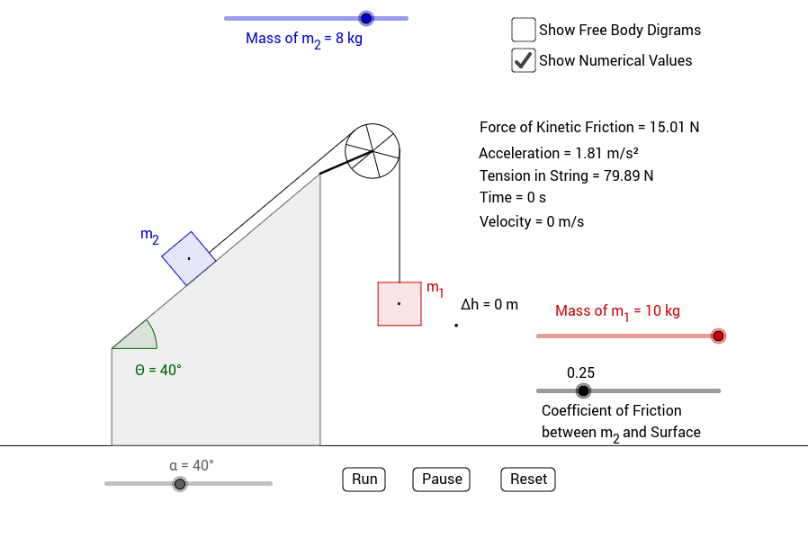 Copy of Inclined Plane with Friction, Two Masses, and a Pulley