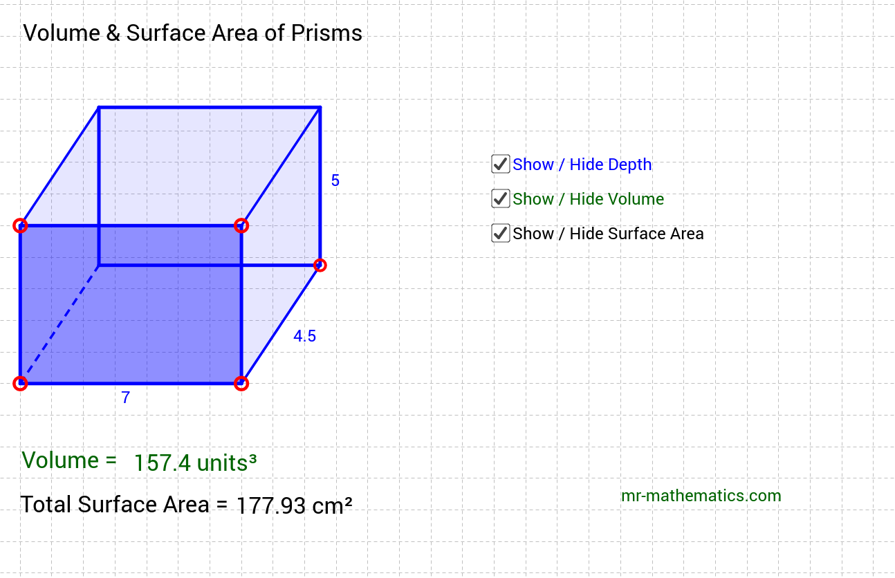 Prisms Volume and Surface Area GeoGebra – Surface Area of Prisms Worksheet