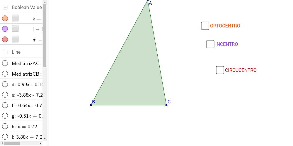 Haz un click en cada una de las casillas de control y podrás observar el punto en el que se cortan cada una de las rectas. ¿Podrías nombrar cuáles son esas rectas que definen cada uno de los puntos?
