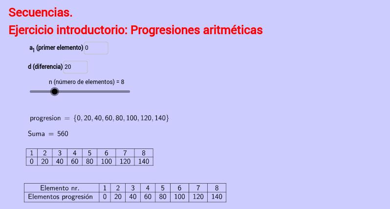 Progresiones aritméticas (listas) – GeoGebra