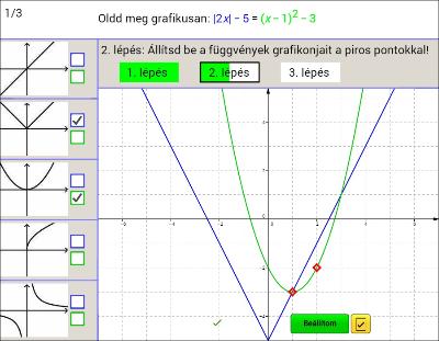 Egyenletek grafikus megoldása nehéz 7.