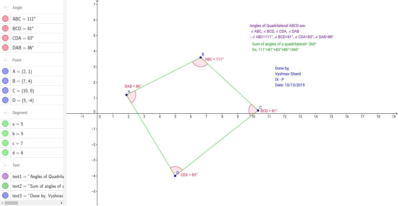 Angle Sum Property Of Quadrilaterals Geogebra