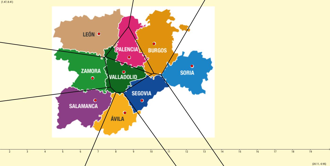 Diagrama de Voronoi con las capitales de Castilla y León