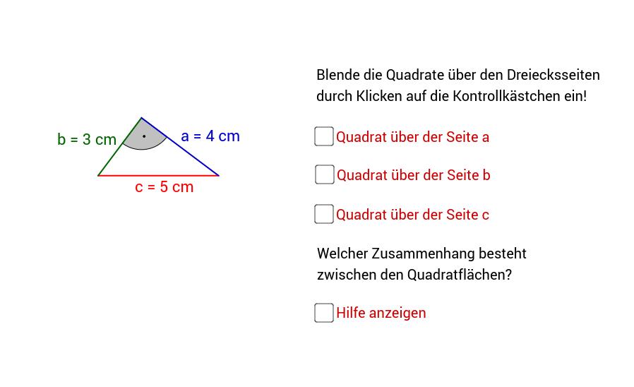 Quadrate über den Dreiecksseiten