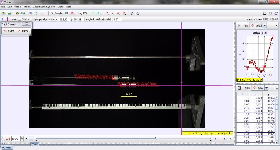 Atwood-féle ejtőgéppel megvalósított gyorsuló mozgás gyorsan – Videoelemzés