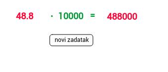 Množenje decimalnog broja dekadskom jedinicom - dopis. nula