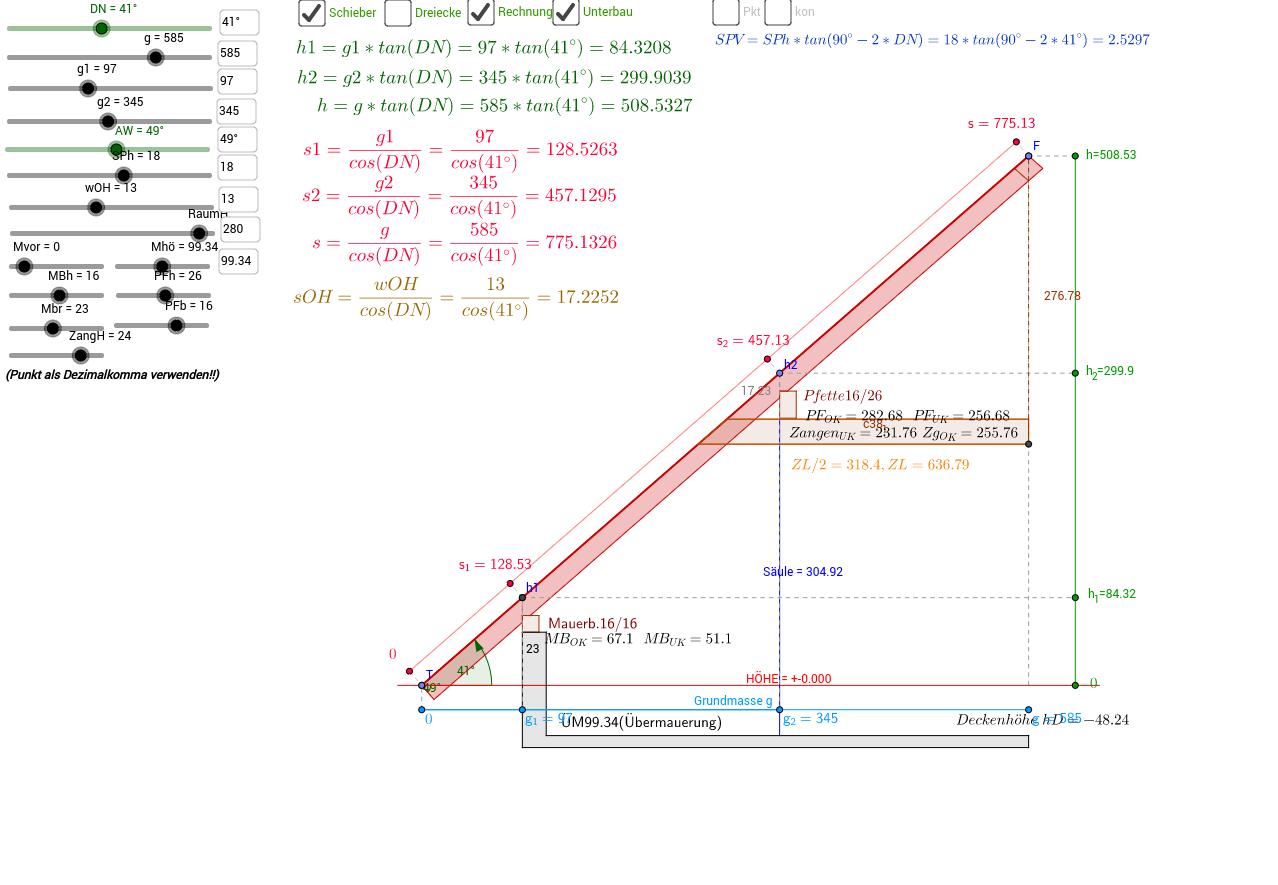 Profilberechnung für ein Satteldach