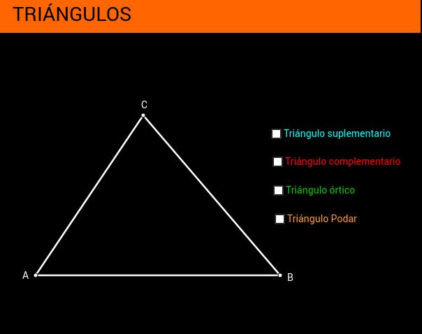 Triángulos Órtico, Complementario, Suplementario y Podar.