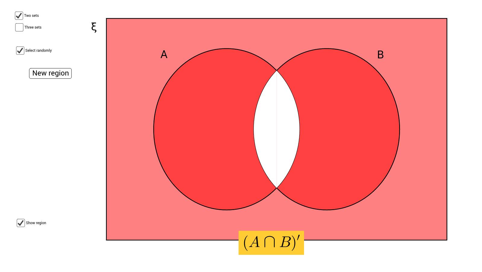 Venn diagram shading with 2 and 3 sets