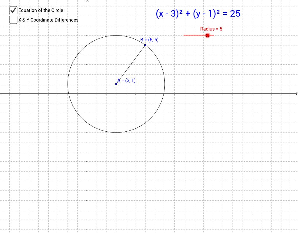 equation of a circle geogebra. Black Bedroom Furniture Sets. Home Design Ideas