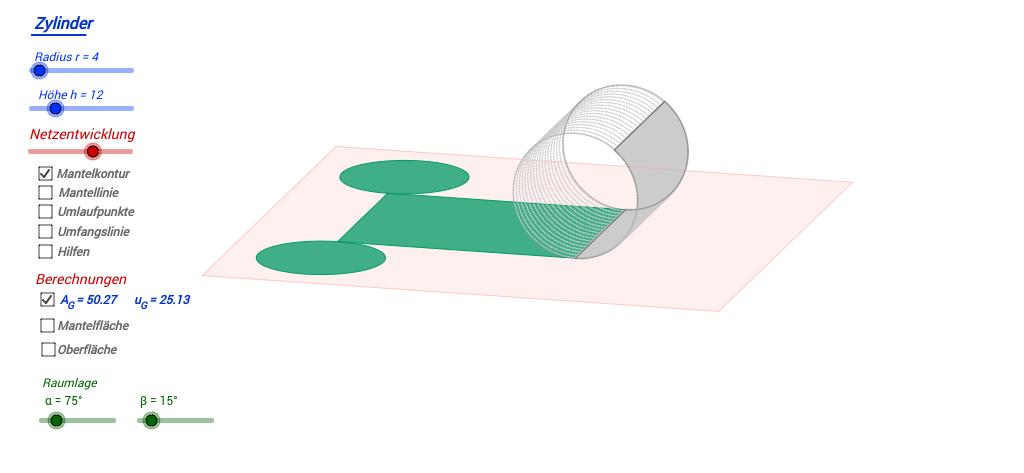 Kegel Oberfläche   Zylinder Kegel Kugel Geogebrabook
