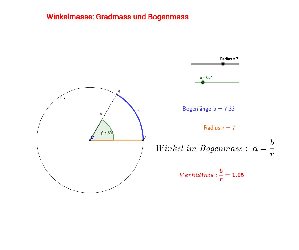 Winkelmass: Gradmass und Bogenmass – GeoGebra