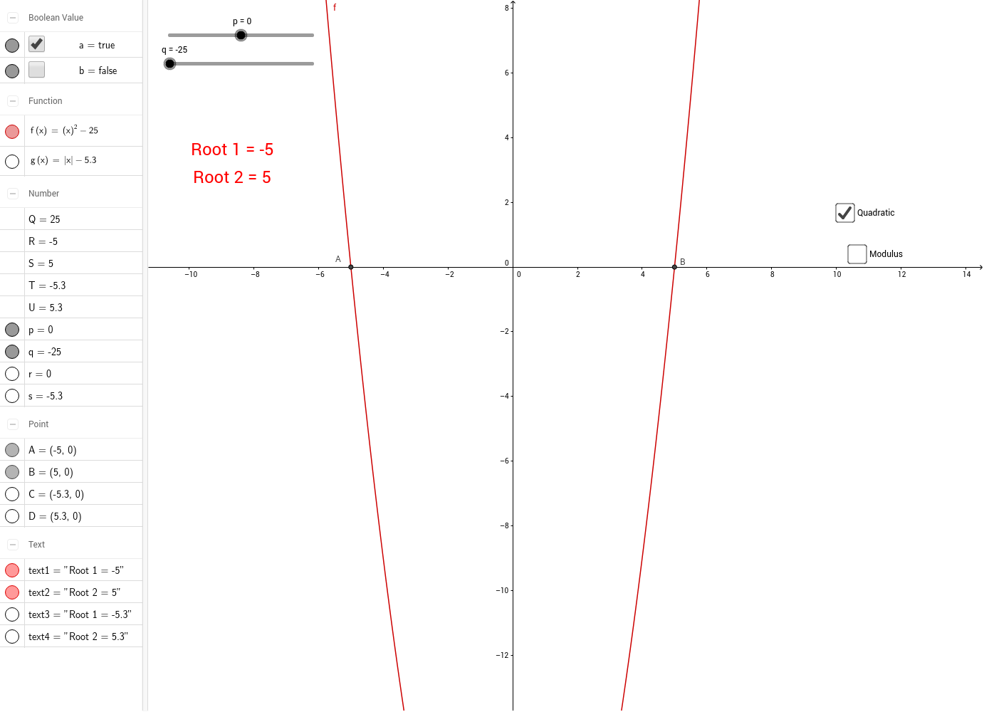 The task is to investigate how translations affect the roots of quadratic  and modulus functions. This geogebra worksheet plots f(x)=(x+p)^2+q and ...