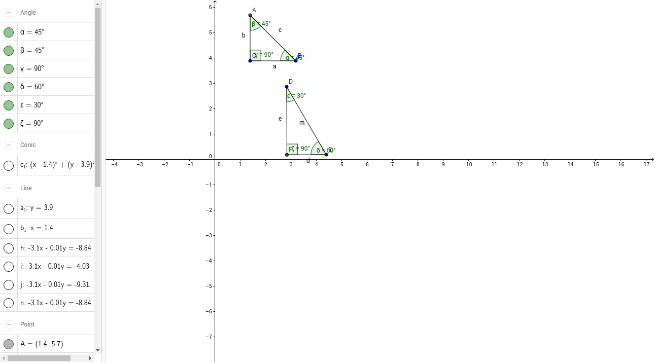 Worksheets Special Triangles Worksheet special right triangles 45 90 degree and 30 60 geogebra