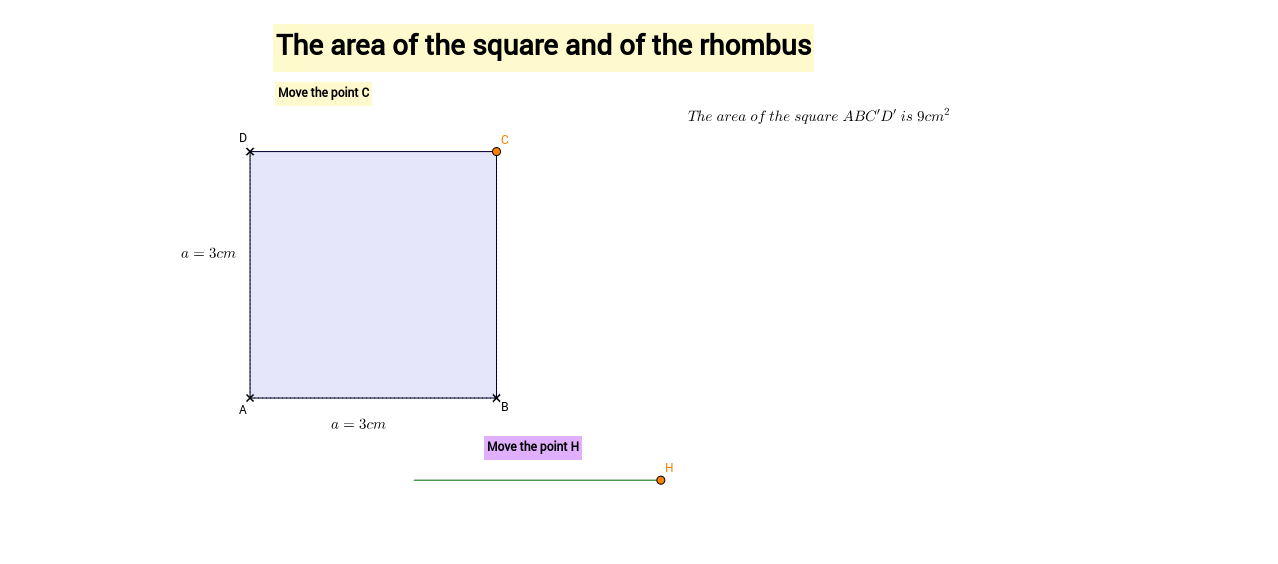 The area of the square and of the rhombus