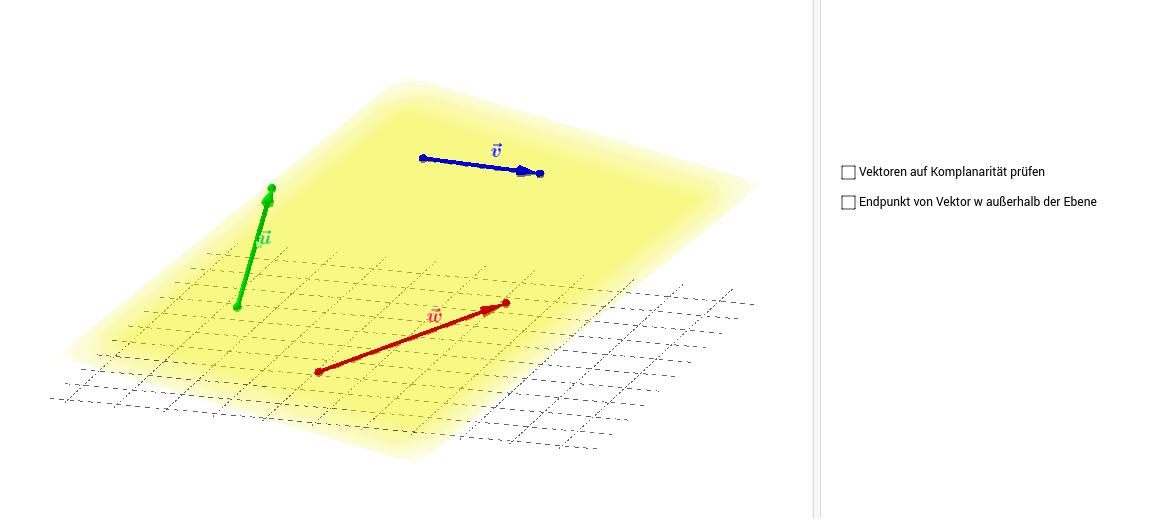 Komplanarität von 3 Vektoren in Ebene überprüfen (2) – GeoGebra